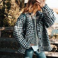 Mosimolly 2020 Trendy karierte Woll Mäntel Frauen mit Taschen und Knöpfen Hemd-Mäntel Aufmaß Oberbekleidung Jacken Mäntel Weiblich