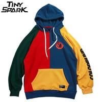 Hip Hop Hoodie Sweatshirt Mens Color Block Patchwork Harajuku Hoodie Streetwear Casual HipHop Pullover Oversized Autumn 2019 New 201005