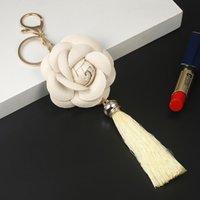 Новое поступление Camellia кожаный цветок с кисточкой ключевой цепочкой Золотая мода ключ кольцо женщины сумка подвесной автомобиль брелок EH883 H BBYDSK