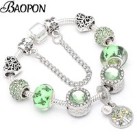 Charm Bracelets Baopon Fashion Life of Tree Crystal Fit Fit Color Color Snake Chain Brand Bangles para mujer Joyería