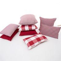 45x45 / 50x30см Красный белый плед PINSTRIPE простой подушка крышки подушки диван проверено наволочка талия подушка для подушки для дома DEAL1
