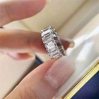 Sıcak Satış Yeni Varış Lüks Takı 925 Ayar SilverGold Dolgu Prenses Kesim Beyaz Topaz CZ Elmas Kadınlar Düğün Nageme 57 L2