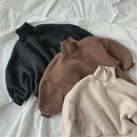 Çocuk Erkek Kış Sweatershirt Yüksek Pamuk Kalın Kış Katı Renk Kore Gevşek T Gömlek Dış Giyim Toddler Çocuk Giyim