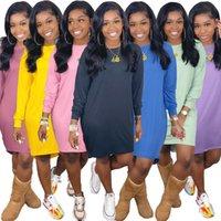 Feste Farbe Womens Degener Dressin Mode Crew Neck Langarm Damenkleider Beiläufige Frühling Herbst Weibliche Kleidung