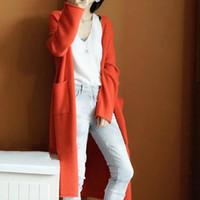 Moda Maxi Uzun Kaşmir Kazak Kadın Hırka Ceket Kadın Çift Cep Örme Kazak V Boyun Yün