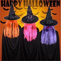 Party Hats Vieruodis Halloween Украшение Шляпы Маскарад Реквизит Парик Ведьма празднование Призрак Фестиваль Cosplay Пасхальные материалы1
