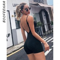 BOOFEENAA BLACK Sexy Strampler Sleeveless Backless Bodycon-Overalls für Frauen One Piece Outfit Sport Active Wear C66-AE121