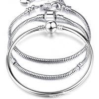 Nuevas vendas calientes 8 estilo 925 Silver Love Snake Chain Brazalet Bangle 17CM-21CM Pulseras Langosta Langosta para perlas DHL gratis 90 L2