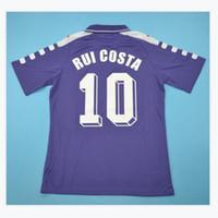التايلاندية 98 99 00 فيورنتينا الرجعية Soccer Jersey 1998 1999 2000 Batistuta Football Shirt 92 93 Rui Costa Jerseys Camisa Camisa de Futbol
