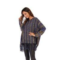 Jane Deiune New Autunno Winter Winter Donne Vintage Patchwork Maglione nappa a righe a strisce maglia Allora PullOvers Amosso Chic Tops