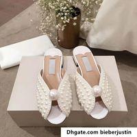 (С Box + мешок для пыли) Пляж All Over Pearls Slide White Satin сандалии женщин тапочки обувь лето Новое прибытие низкий каблук сандалии Casual