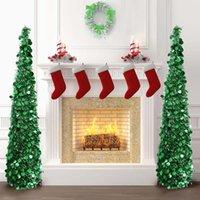 1.5M Складная Искусственная новогодняя елка блестки блестки Всплывающее Дерево с подставкой новогодний подарок Новогоднее украшение
