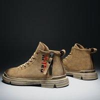 Водонепроницаемые мужские зимние сапоги Водонепроницаемая натуральная кожа на молнии Удобные сапоги Мужчины Cowboy Mens Brown Slip на мужчинах Boots Ankle 201127
