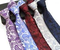 Corbatas de cuello Linbaiway 8cm para hombre poliéster paisley floral jacquard corbatas corbatas de hombre corbata delgada traje boda personalizado logo1