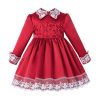 Pettigirl New Red Girls Christmas Dress With Lace And Beadin...