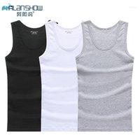 Alanshow 3 pçs / lote homem de algodão sólido sem costura underwear mens sem mangas tanque confortável de moda feminino respirável mens undershirts11