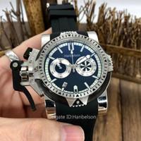 Yeni Chronograph Çalışma Erkek Kronometre Paslanmaz Çelik Kuvars Hareketi Montre Erkekler Saatı Kauçuk Kayış Moda Tasarımcısı İzle Hanbelson