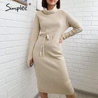 Simplee повседневная a-line женское трикотажное платье кружева с длинным рукавом абрикос высокое шею платье с высокой талией зима 2021