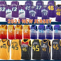 2021 Nova Jersey de Basquete UtahJazzMens Donovan 45 Mitchell Malha Retro Rudy 27 Gobert John 12 Stockton Youth Karl 32 Malone Verde