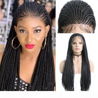 드물게 레이스 프론트 가발 흑인 여성 합성 긴 상자 꼰 가발 여성용 검은 가발 내열성 섬유