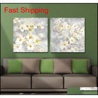 DYC 10059 2 UNIDS Flores blancas Impresión de arte listo Qylous Bde_Luck