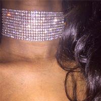 Bling Bling Strass Halskette Mode 8/12/15 Reihen Kristall Schmuck Frauen Hals Anhänger Metall Legierung Halskette Partei Favor VTKY2152