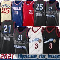 Allen 3 Iverson Jerseys Joel 21 Embiid Jersey Ben 25 Simmons Jerseys Philadelphias 2021 Ciudad Baloncesto Uniforme