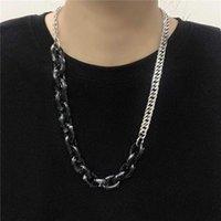 Colar de leopardo acrílico fosco vintage para mulheres de aço inoxidável cor prata pingente colar longo gargantilha boho jóias collier1