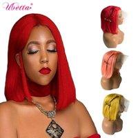 UBETTA Düz Bebek İçin Siyah Kadınlar ile% 100 Gerçek Saç Peruk U Bölüm Peruk İnsan Saç Renkli Kırmızı Pembe Sarı Kısa Bob Peruk