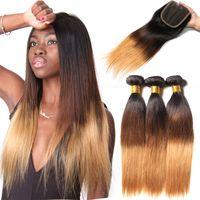 capelli trama brasiliana ombre estensioni dei capelli umani capelli umani diritto naturale tre colori tono 1b / 4/27 100g / bundle