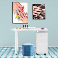 Таблицы ногтей Waco для техника, маникюрных столов для стола для стола Мебель рабочая станция Арт-станция с ручной подушкой Керамическая ручка колеса (белый)