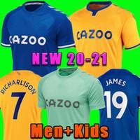 20 21 Everton Fussball Trikots James Richarlison Kean Sigurdsson Fußball Hemd 2020 2021 Walcott Home Away Uniformen Männer + Kids Kit