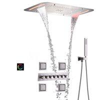 Cepillado de baño del grifo de la ducha de lluvia 71X43CM Ceil montado en panel LED Cabeza Baño termostático Mezclador Cuerpo Sistema Combo Masaje