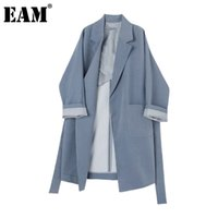 [EAM] Women Striped Split Big Size Long Trench New Lapel Lon...