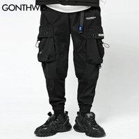 GONTHWID Cinturón Mulit Bolsillos Joggers Cargo Jeans reflectante Harem Streetweat hombres Hip Hop Casual Harajuku pantalones flojos de 1114