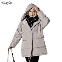 Fitaylor зимняя куртка женщин 90% белая утка вниз парку свободно плюс размер с капюшоном пальто средняя длинная тепловая повседневная розовая снежная лошадь1