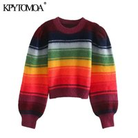 KPYTOMOA Women 2020 Fashion Color Striped Cropped Knitted Sweater Vintage O Neck Long Sleeve Female Pullovers Chic Tops