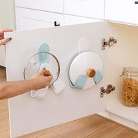 Réglable Porte-couvercle Pot auto-adhésif Punch-libre Pan Couvercle Support de rangement mural Cuisine Ustensile Organisateur outil