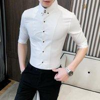 Camisas de vestido masculina de alta qualidade homens de verão camisa meia manga moda streetwear 2021 magro fit mens ocasional noite clube em tuxedo