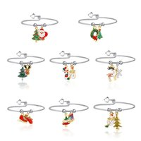 Women Christmas Bracelet Bangle Reindeer Santa Claus Candy Christmas Tree Snowman Enamel Charm Bracelets Jewelry Accessories Birthday Gift