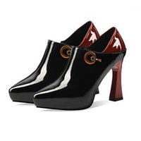 Vestido Zapatos Bombas Mujeres Moda Patente Cuero Tacones Altos Punta Punta Punto Zip Tobillo Botas Damas Plataforma de Verano Fiesta Boda H-21