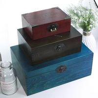 Boîte de rangement de bijoux en bois de style égyptien Zakka Vintage pour cadeau Petit métier en bois pour organisateur Décorations de bureau Packaging LJ200812
