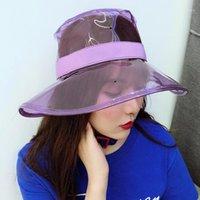 الصلبة شفاف المرأة دلاء القبعات قبعات الفتيات gorras السيدات pvc شاطئ الشمس قناع للماء المطر قبعة البلاستيك واسعة بريم كابس 1