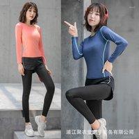 여성 원활한 요가 세트 피트니스 스포츠 정장 체육관 천으로 요가 긴 소매 셔츠 높은 허리 실행 레깅스 운동 바지 셔츠 1