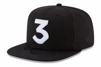 2017 chance popular o rapper 3 chapéu boné preto letra bordado boné de beisebol hip hop strapwear strapback snapback sun hat bone1
