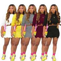 Bayan Örgü Delik 2 adet Elbiseler Skinny Burrs Uzun Kollu Kadın 2psc Setleri Seksi Tasarımcı Moda Bayanlar Giyim