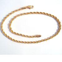 """Высококачественная веревка-цепь 6 мм 18 K Желтый тонкий сплошной G / F Gold Толстые извилистые плетеные плетеные мужские хип-хоп 600 мм ожерелье """"Xuping"""" 1"""
