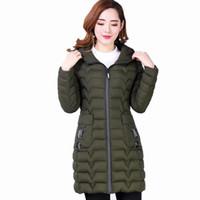 Oln 2019 المرأة معطف الشتاء زائد حجم السيدات سترة ستر XL-6XL القطن جاكيتات متوسطة طويلة الأكمام معطف سليم مقنعين أنثى أبلى HP621