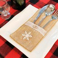 Esteras almohadillas de encaje diseño arpillera soporte de cubiertos cubiertos rústico boda mesa decoración de yute cuchillo tenedor bolsas de tapa bolsa de la cubierta1