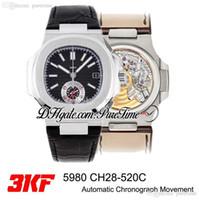 3 KF 5980 CH28-520C Otomatik Chronograph Erkek İzle Siyah Doku Dial Sopa İşaretleyiciler Siyah Deri En Iyi Baskı Kronometre Puretime PTPP C3